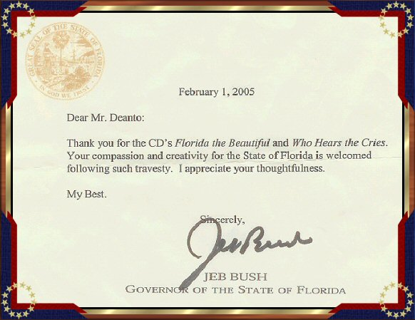 Letter of thanks from Jeb Bush